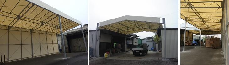 資材置き場・屋外のテント屋根